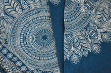 Load image into Gallery viewer, Close-up on dream catcher elephant pants pattern in teal