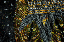 Load image into Gallery viewer, Close-up on peacock elephant pants pattern in black
