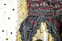 Load image into Gallery viewer, Close-up on peacock elephant pants pattern in white