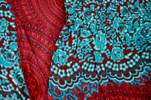 Load image into Gallery viewer, Close-up on mandala elephant pants pattern in red & teal
