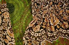 Load image into Gallery viewer, Close-up on mandala elephant pants pattern in olive green