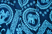 Load image into Gallery viewer, Close-up on tribal elephant pants pattern in teal