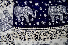 Load image into Gallery viewer, Close-up on chang thai elephant pants pattern in navy