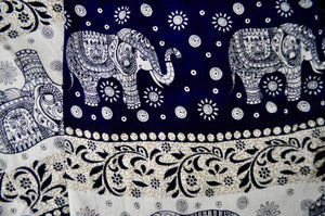 Close-up on chang thai elephant pants pattern in navy