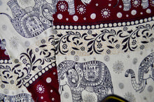 Load image into Gallery viewer, Close-up on chang thai elephant pants pattern in red