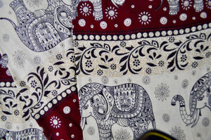 Close-up on chang thai elephant pants pattern in red