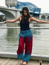 Load image into Gallery viewer, Mandala Elephant Pants-Red and Teal