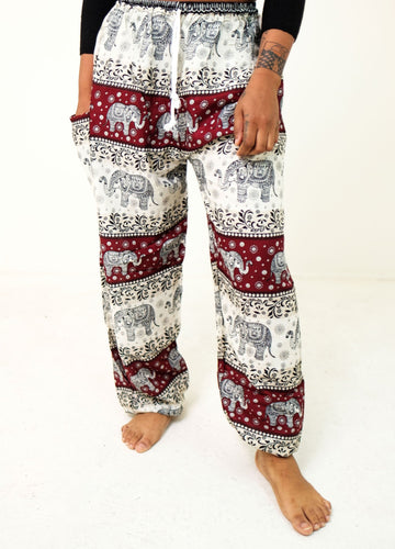 Front-view chang thai elephant pants in red with model and white background-halfsize image