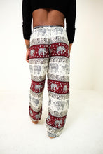 Load image into Gallery viewer, Rear-view chang thai elephant pants in red with model and white background-half size image