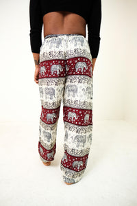Rear-view chang thai elephant pants in red with model and white background-half size image