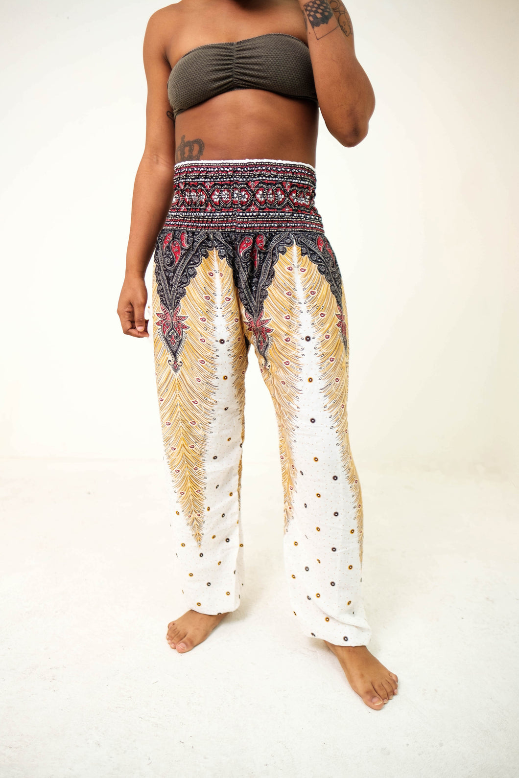 Peacock Elephant Pants-White