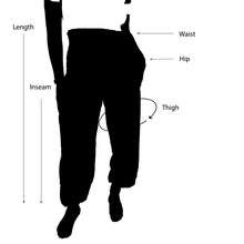 Load image into Gallery viewer, Teal peacock elephant pant size measurement reference diagram