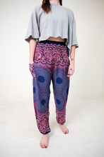 Load image into Gallery viewer, Front-view mandala elephant pants in purple with model and white background-fullsize image