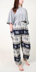 front-view chang thai elephant pants in navy with model and white background-half size image