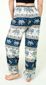 Rear-view chang thai elephant pants in teal with model and white background-halfsize image