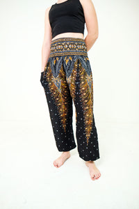 Peacock Elephant Pants-Black