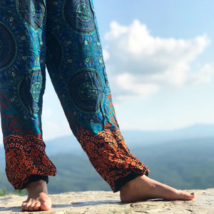 Mandala Elephant Pants-Orange & Teal
