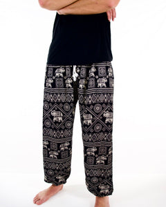 Front-view imperial elephant pants in black with model and white background-fullsize image