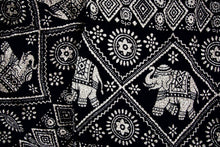 Load image into Gallery viewer, Close-up on imperial elephant pants pattern in black