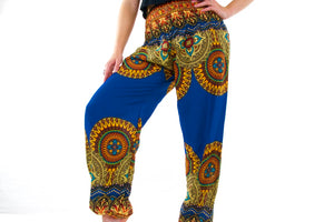 Indian Sun Elephant Pants-Blue & Yellow