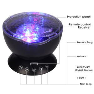 Ocean Wave Projector LED Night Light with Music and Remote - Night Radiance