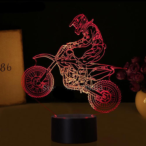 Motocross 3D Acrylic Night Light - Night Radiance