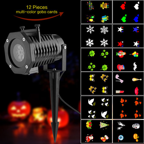 LED Projector Light with 12pc Gobo for Indoor and Outdoor - Night Radiance