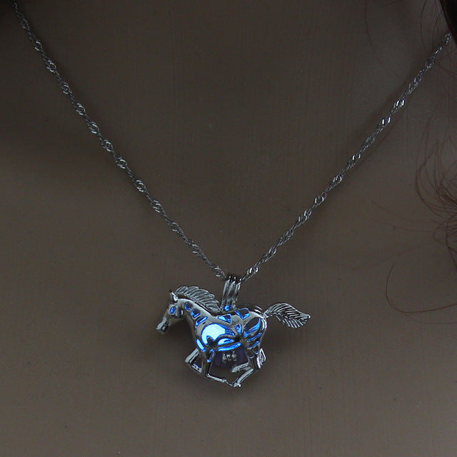 Luminous Glow in the Dark Horse Pendant Necklace - Night Radiance