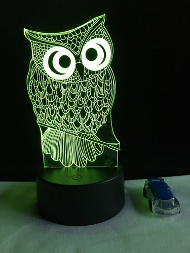 Cute Owl Acrylic 3D Night Light - Night Radiance