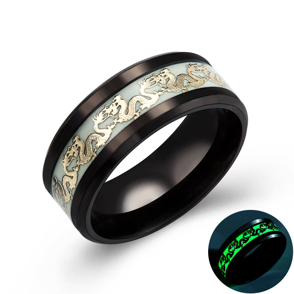 Luminous Dragon Ring in Black and Gold - Night Radiance