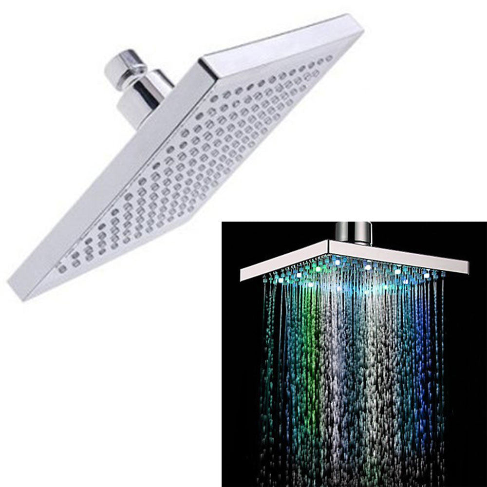 8-inch Multi-color Changing LED Light Square Shaped Water Shower Head - Night Radiance
