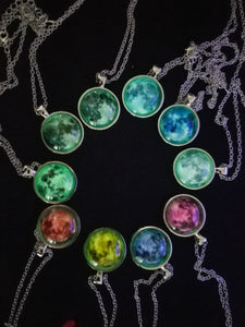 Glow in the Dark Moon Celestial Necklace - Night Radiance