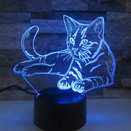 Lounging Kitty 3D Acrylic Night Light - Night Radiance