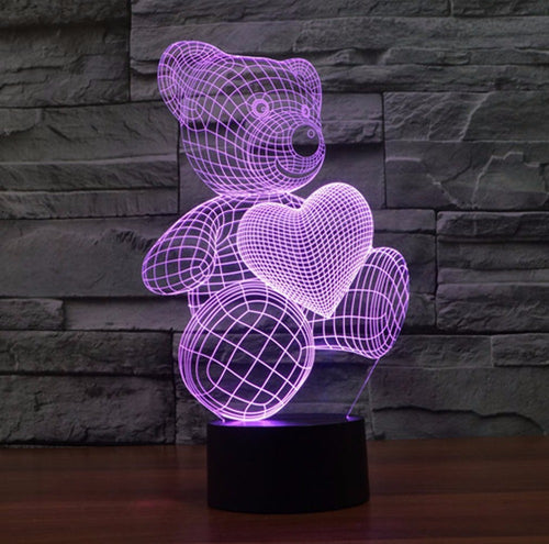 Cute Teddy Bear with Heart LED Acrylic 3D Night Light Lamp - Night Radiance
