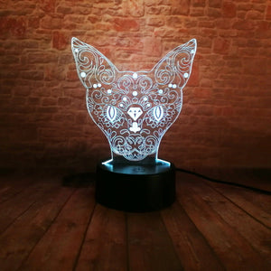 LED Acrylic 3D Kitten Night Light - Night Radiance