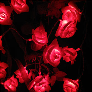 Red LED Rose Garland - Night Radiance