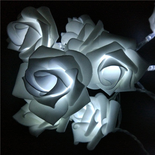 White LED Rose Garland - Night Radiance