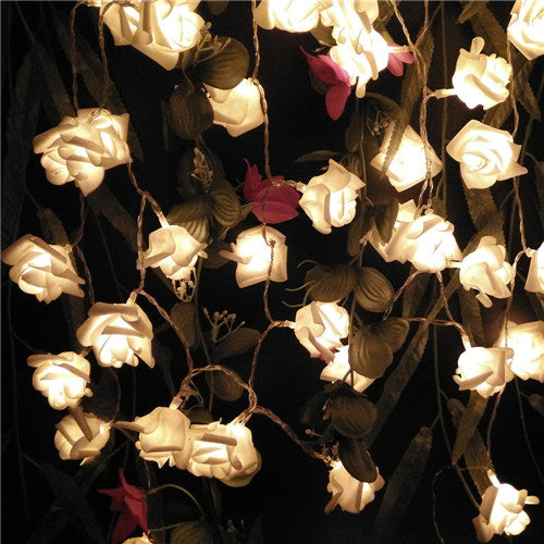 Warm White LED Rose Garland - Night Radiance