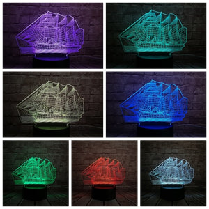 LED Acrylic 3D Pirate Ship Night Light - Night Radiance