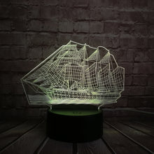 Load image into Gallery viewer, LED Acrylic 3D Pirate Ship Night Light - Night Radiance