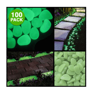100-Pack: Glow in the Dark Garden Pebbles - Night Radiance