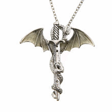 Load image into Gallery viewer, Vintage Glow in the Dark Chain Dragon and Sword Necklace - Night Radiance