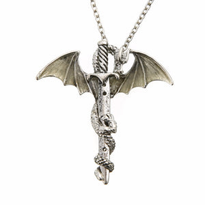 Vintage Glow in the Dark Chain Dragon and Sword Necklace - Night Radiance