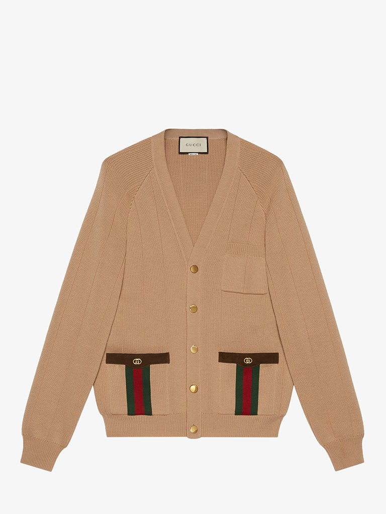CALF WOOL MIX CARDIGAN MEN-CLOTHING CARDIGAN GUCCI SMETS