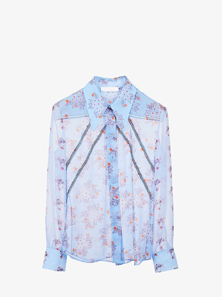CHC21UHT053224D1 FLOWER GEORGETTE SHIRT WOMEN-CLOTHING TOP CHLOÉ FR 38 DOWNY BLUE SMETS
