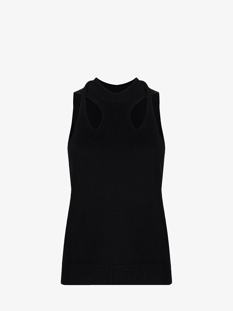 CHC21UMH06600001 TWISTED WOOL KNIT TANK TOP WOMEN-CLOTHING TOP CHLOÉ XS BLACK SMETS