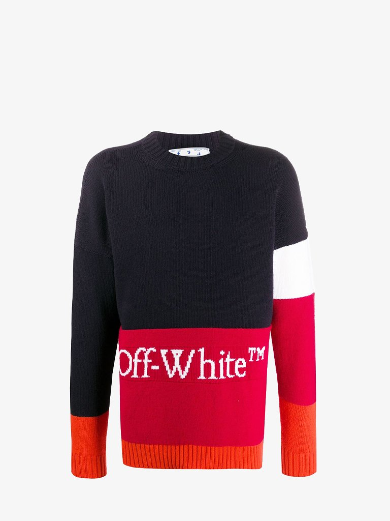 COLOURBLOCK SWEATER * MEN-CLOTHING CREWNECK OFF-WHITE SMETS
