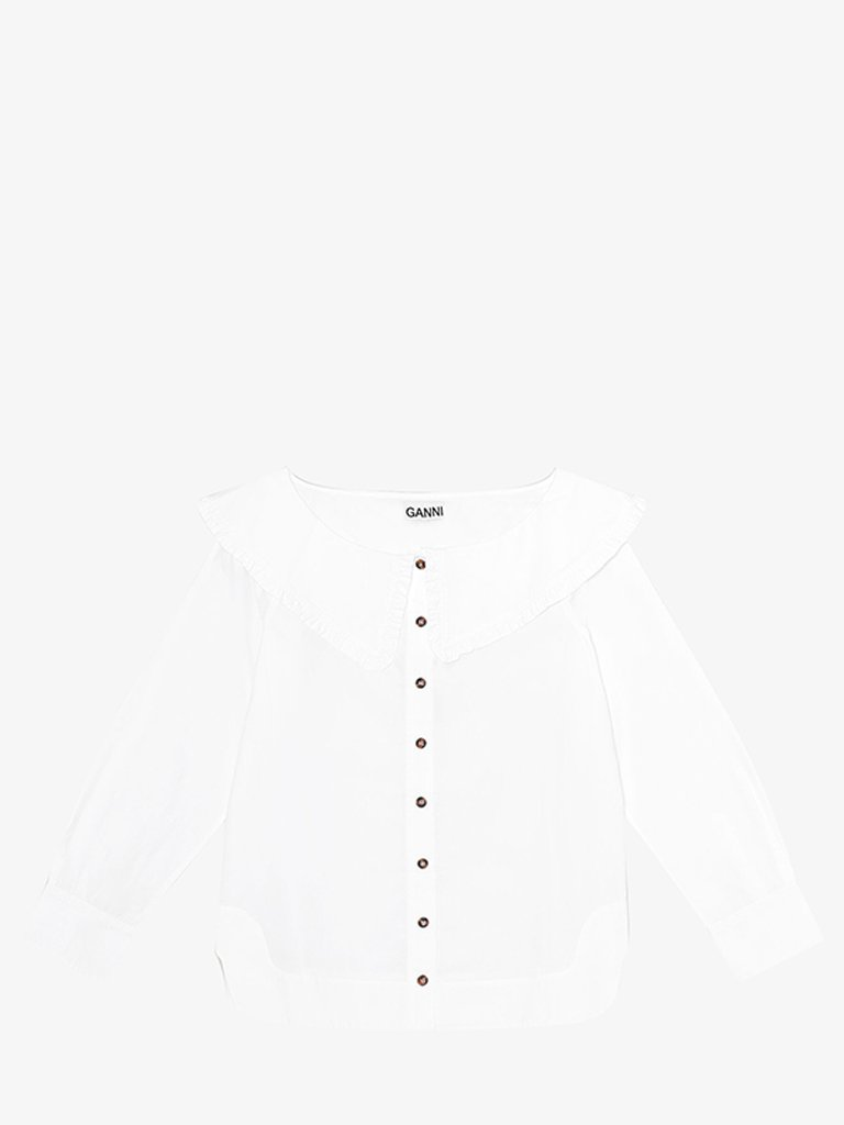 F5822151 COTTON POPLIN SHIRT WOMEN-CLOTHING SHIRT GANNI FR 34 BRIGHT WHITE SMETS