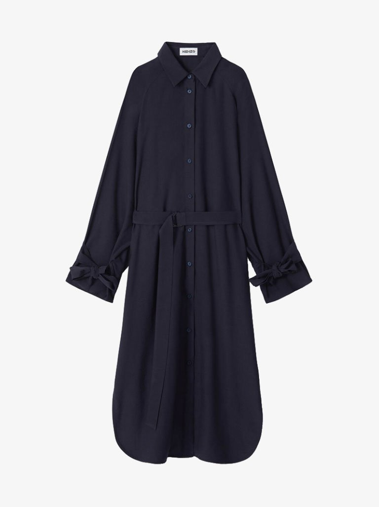 FA62RO0215AF76 DRAPY MIDI SHIRTING DRESS WOMEN-CLOTHING LONG DRESS KENZO FR 34 NAVY BLUE SMETS