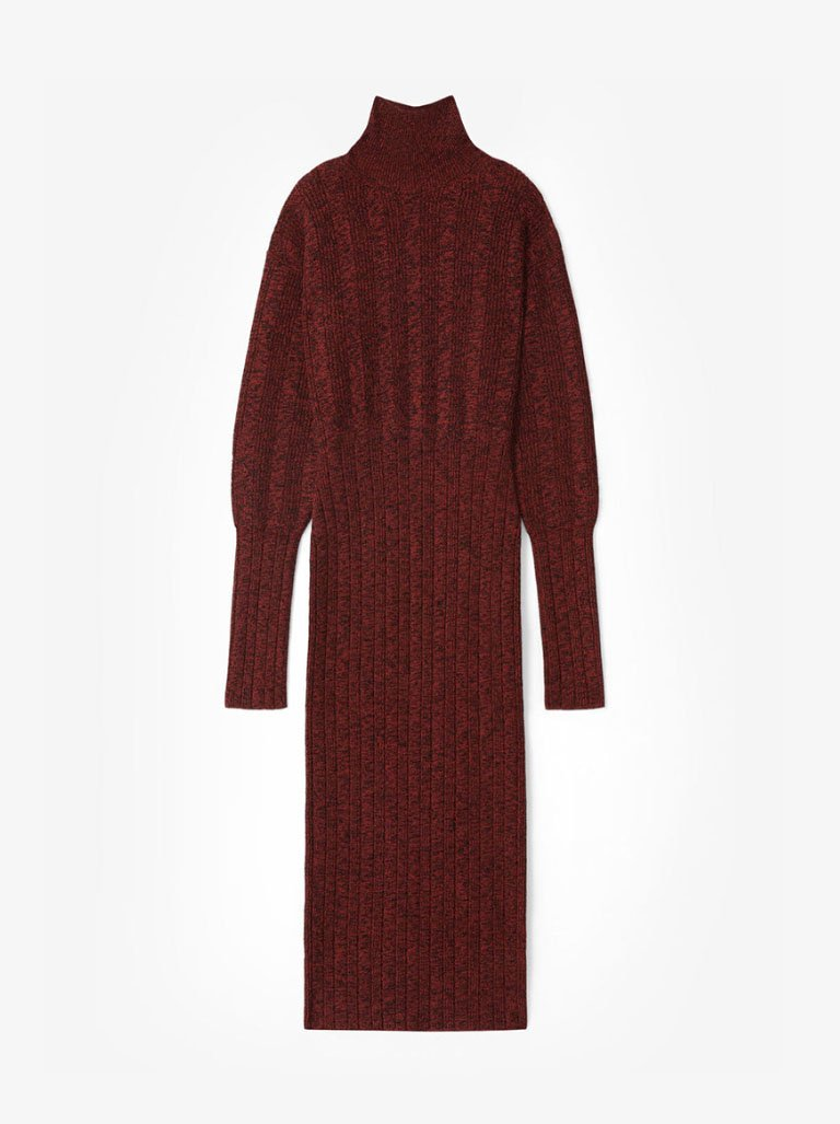 FA62RO5103AA23 TEXTURED BLEND LONG DRESS WOMEN-CLOTHING LONG DRESS KENZO S BORDEAUX SMETS